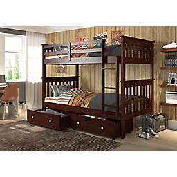 Mission Twin Over Twin Bunk Bed with Underbed Drawers