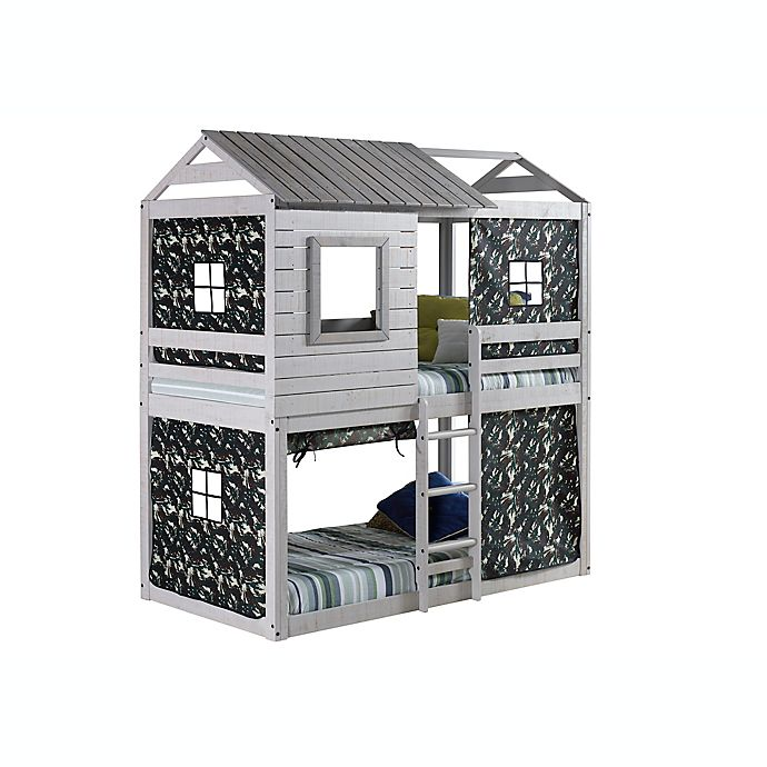 Alternate image 1 for Deer Blind Twin Bunk Bed with Tent Kit in Rustic Grey/Green Camo