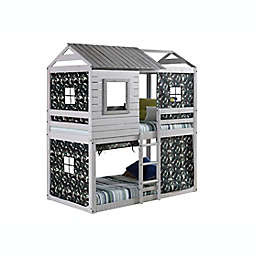Deer Blind Twin Bunk Bed with Tent Kit in Rustic Grey/Green Camo