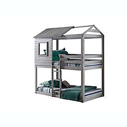 Deer Blind Twin Over Twin Bunk Bed in Light Grey