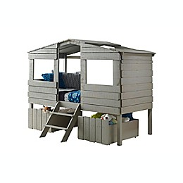 Tree House Loft Twin Bed with Drawers in Rustic Grey