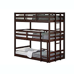 Triple Twin Over Twin Bunk Bed in Cappuccino