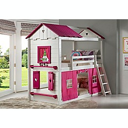 Sweetheart Twin Over Twin Bunk Bed with Tent Kit in White/Pink