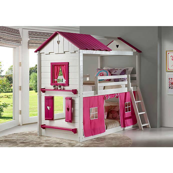Alternate image 1 for Sweetheart Twin Over Twin Bunk Bed with Tent Kit in White/Pink