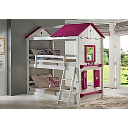Sweetheart Twin Over Twin Bunk Bed in White/Pink