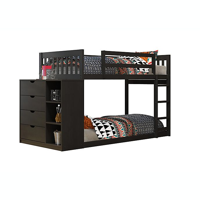 Alternate image 1 for Mission Twin Over Twin Bunk Bed with 4-Drawer Chest