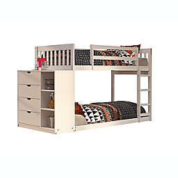 Mission Twin Over Twin Bunk Bed with 4-Drawer Chest