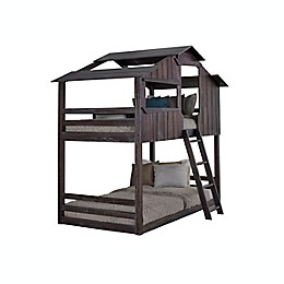 Mission Fort Twin Over Twin Bunk Bed in Rustic Brown