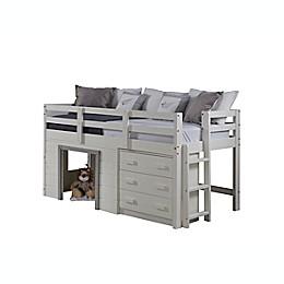 Sweet Dreams Low Loft Twin Bed in White/Grey