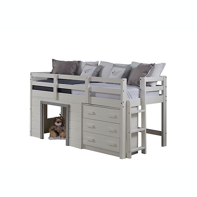 Alternate image 1 for Sweet Dreams Low Loft Twin Bed in White/Grey
