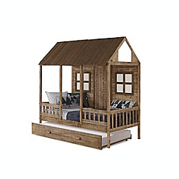 Porch Low Loft Twin Bed with Trundle in Rustic Driftwood