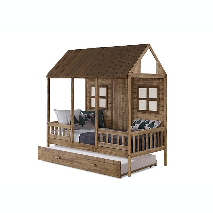 Alternate image 1 for Porch Low Loft Twin Bed with Trundle in Rustic Driftwood