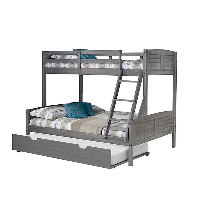 Alternate image 1 for Louver Twin Over Full Bunk Bed with Trundle in Antique Grey
