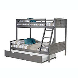 Louver Twin Over Full Bunk Bed with Trundle in Antique Grey