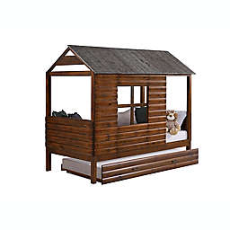 Log Cabin Low Loft Twin Bed with Trundle in Rustic Walnut