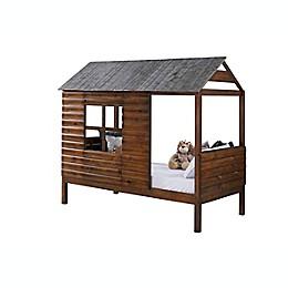 Log Cabin Low Loft Twin Bed in Rustic Walnut