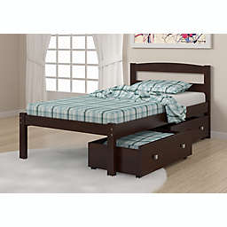 Econo Twin Bed with Storage Drawers in Dark Cappuccino