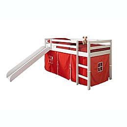 Twin Low Loft Bed in White with Tent Kit