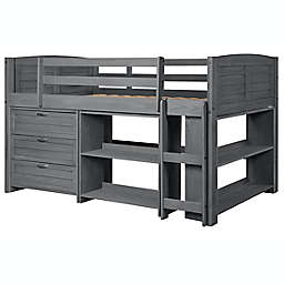 Louver Low Loft Twin Bed in Antique Grey`
