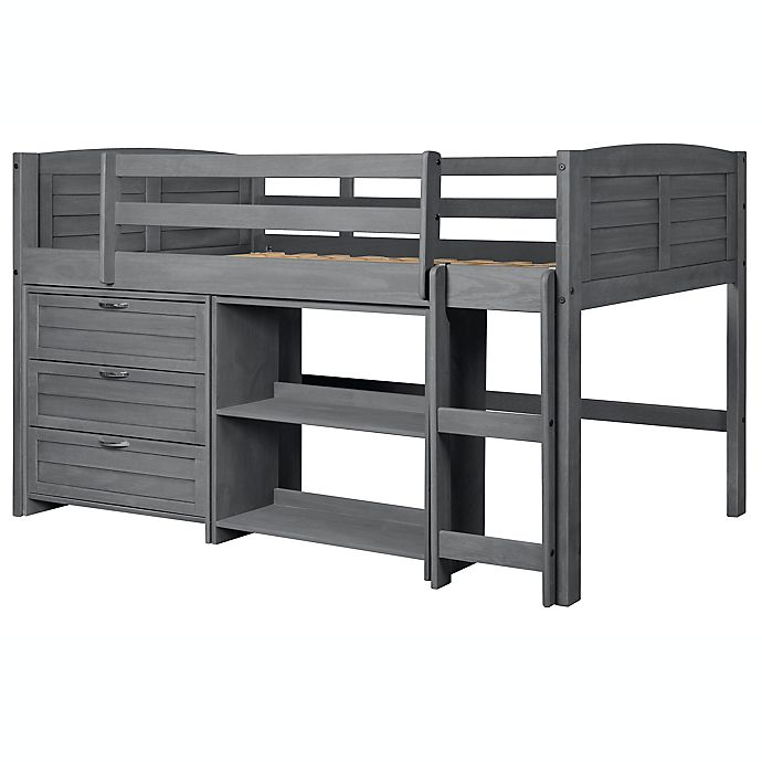 Alternate image 1 for Louver Low Loft Twin Bed in Antique Grey`
