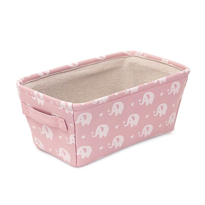 Alternate image 1 for Closet Complete Elephant Canvas Diaper Caddy in Pink/White