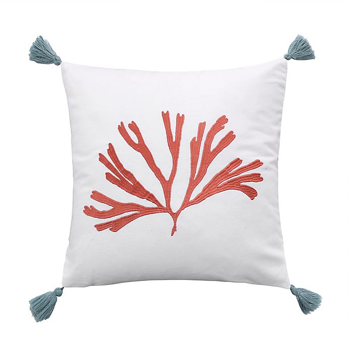 Levtex Home Cape Town Coral Square Throw Pillow In White Bed Bath Beyond