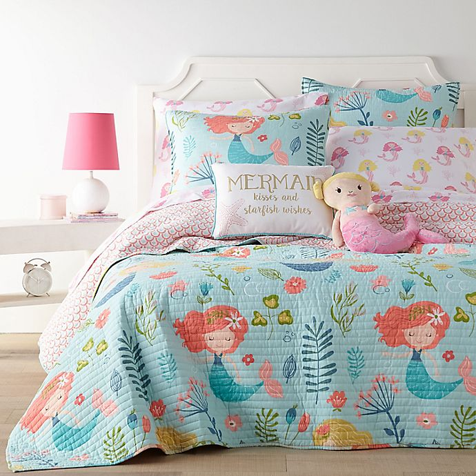 Alternate image 1 for Levtex Home Andrina Quilt Set in Aqua/Coral