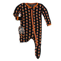 Kickee Pants® Candy Corn Footie Pajama in Black/Orange