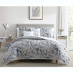 Ellen Tracy Jacobean Floral 5-Piece Queen Quilt Set