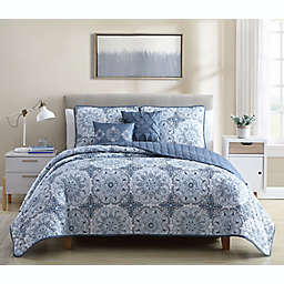 Ellen Tracy Paisley 5-Piece Queen Quilt Set in Blue
