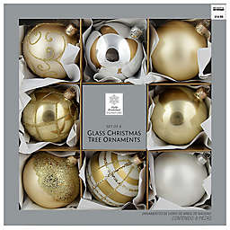 Winter Wonderland 3.15-Inch Opulence Glass Christmas Ornaments in Gold/White (Set of 8)