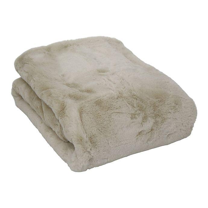 Alternate image 1 for Wamsutta Faux Fur Oblong Throw Blanket in Oatmeal