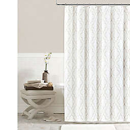 Colordrift Brianna Fret Shower Curtain in Ivory