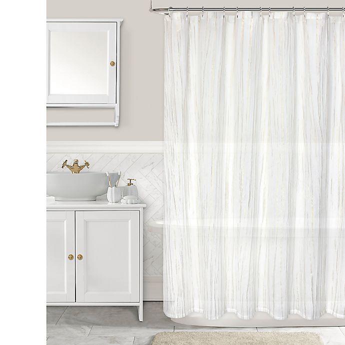 Alternate image 1 for Olivia & Oliver™ Birchwood Stripe Shower Curtain in Ivory/Gold