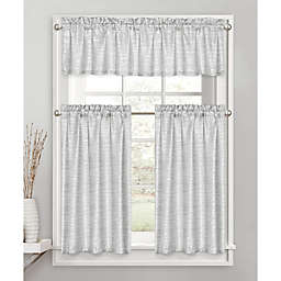 Penthouse Silver Shimmer 45-Inch  Kitchen Window Curtain Tier Pair
