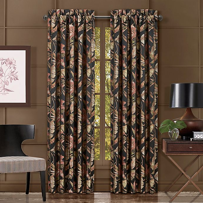 Alternate image 1 for J. Queen New York™ Martinique 2-Pack 84-Inch Rod Pocket Window Curtain Panels in Black