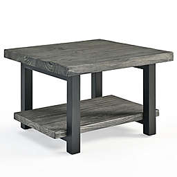 Alaterre Pomona Metal and Wood 27-Inch Square Coffee Table in Slate Grey