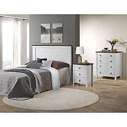 Powell Reia Bedroom Furniture Collection in White/Rustic Oak