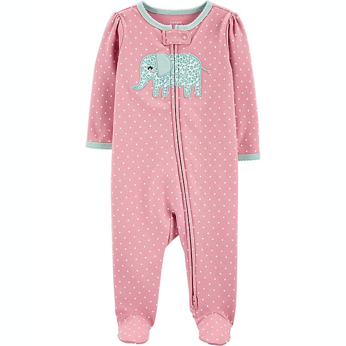 Alternate image 1 for carters® Newborn Elephant 2-Way Zip Sleep & Play in Pink