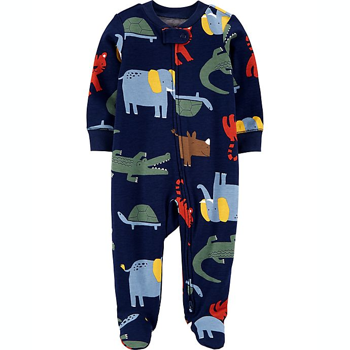 Alternate image 1 for carters® Size 6M Animals 2-Way Zip Sleep & Play in Blue
