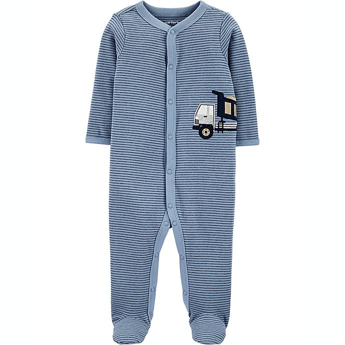 Alternate image 1 for carters® Newborn Construction Snap-Up Sleep & Play in Blue