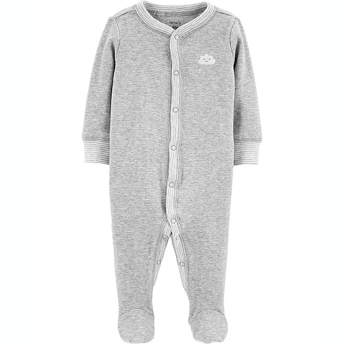 Alternate image 1 for carter's® Size 6M Cloud Snap-Up Thermal Sleep & Play Footie in Grey