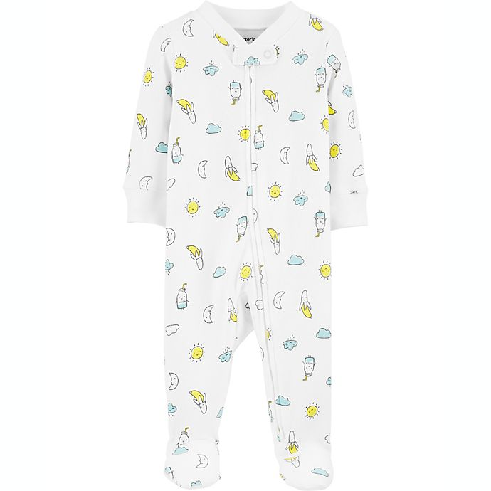 Alternate image 1 for carter's® Size 6M Bananas 2-Way Zip Stretch Sleep & Play Footie in White