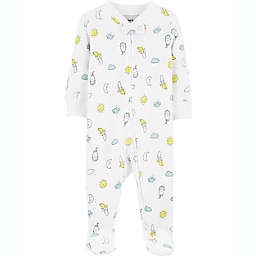 carter's® Size 6M Bananas 2-Way Zip Stretch Sleep & Play Footie in White