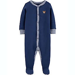 carter's® Size 9M Bear Snap-Up Thermal Sleep & Play in Navy