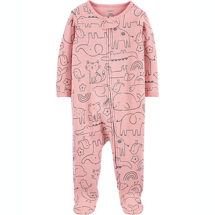 Alternate image 1 for carters® Newborn Animal Outline 2-Way Zip Thermal Sleep & Play in Pink