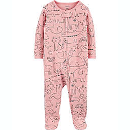 carters® Size 6M Animal Outline 2-Way Zip Thermal Sleep & Play in Pink