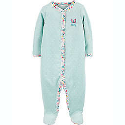 carter's® Size 9M Butterfly Snap-Up Sleep & Play Footie in Mint