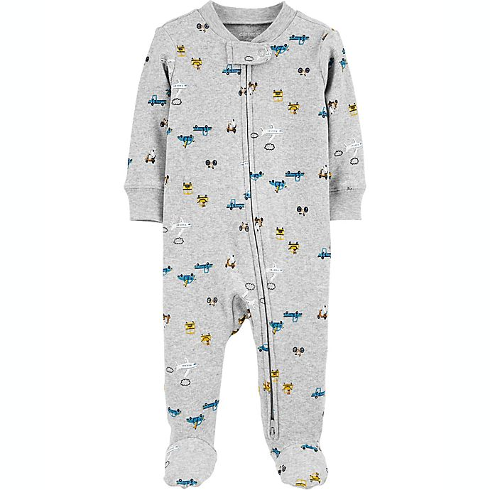 Alternate image 1 for carter's® Size 6M Transportation 2-Way Zip Stretch Sleep & Play Footie in Grey