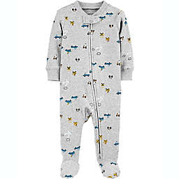 carter's® Size 6M Transportation 2-Way Zip Stretch Sleep & Play Footie in Grey